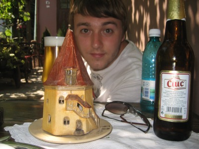 """R, Ciuc beer and ceramic candleholder of the Shoemaker's House, Sighisoara"", 2008"