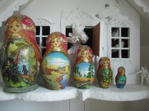 Russian doll and her four children on 'The Wolf's House', mixed media, 2012, by Jane Lee McCracken