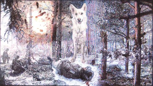 "'TV Screen III - ""East Meets West, Forests Memories""', colour Biro drawing, 2010 by Jane Lee McCracken"