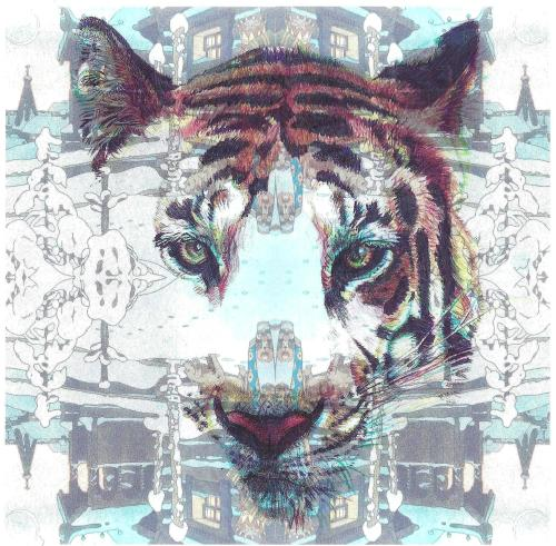 'Siberian Tiger', 2012, colour Biro drawing and digital montage of Ivan Bilibin postcard by Jane Lee McCracken