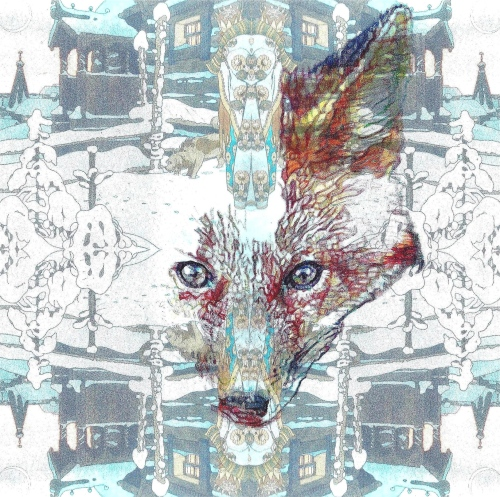 'Ice Fox', 2012, colour Biro drawing and digital montage of Ivan Bilibin postcard by Jane Lee McCracken