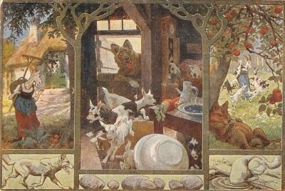 """""""Der Wolf und die sieben jungen Geißlein"""", vintage German postcard, Artist's collection"""