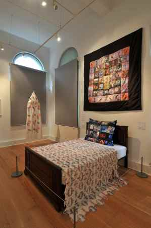 'British Moth Throw' displayed in 2013 at the Mercer Art Gallery, Harrogate - Artist's Grandmother's bed circa 1940