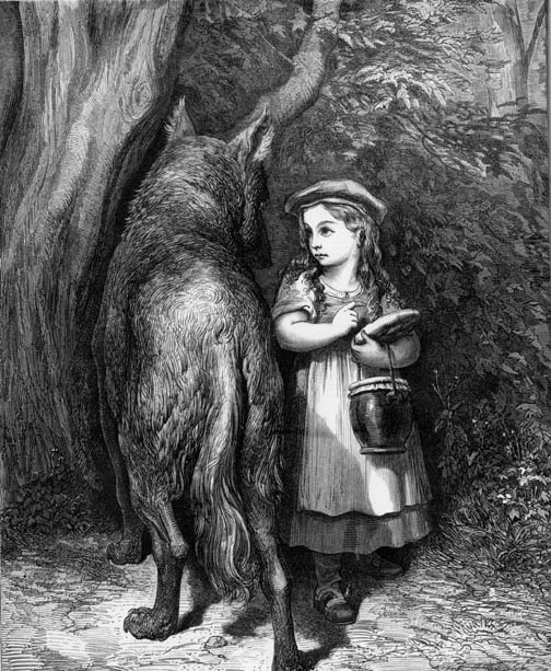 """stereotypes in the little red riding In """"little red riding hood,"""" the wolf eats the grandmother, and tries to  you too  would likely start building up a stereotype against all wolves."""