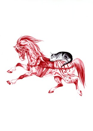 'Red Horse and the Wolf Cub - After Janet and Anne Grahame Johnstone', 2009, red and black Biro drawing by Jane Lee McCracken