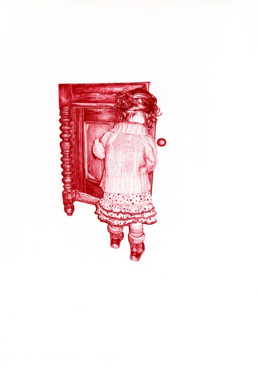 'The Sideboard II', 2009, red Biro drawing by Jane Lee McCrackenThis triptych portrays memories of a small child at play in a sideboard, within the safety of 'home', before the onset of war. It was inspired by the girl in the red coat from the film 'Schindler's List', 1993, Steven Spielberg, as she wanders through the Kraków Ghetto while it is being 'cleared''. The Artist uses her niece to model for this piece to highlight the indiscriminate nature of war and how it can affect 'anyone' and to provoke understanding of loss by seeing victims as individuals and not statistics.