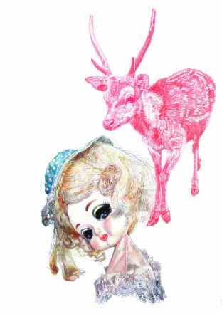 'Doll and Pink Boris', 2011, colour Biro drawing by Jane Lee McCracken, part of design for 'Red Riding Hood's Cloak' fabric pattern