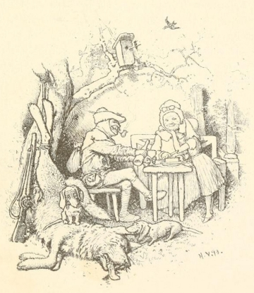 Illustration by Hermann Vogel of Wolf slain by Huntsman