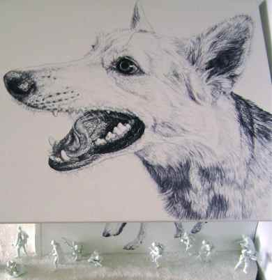 'The Wolf's House' roof detail, black Biro drawing of Lily on painted MDF