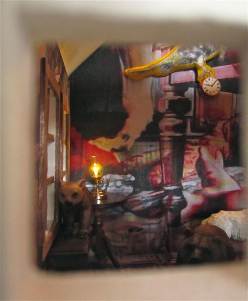 'The Wolf's House' interior shot through front window.