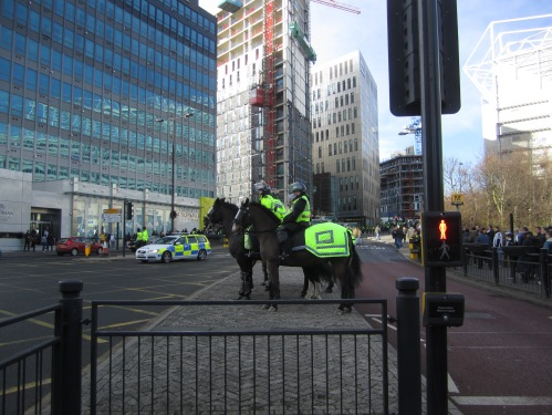 Mounted Police outside Shark's Bar, Newcastle