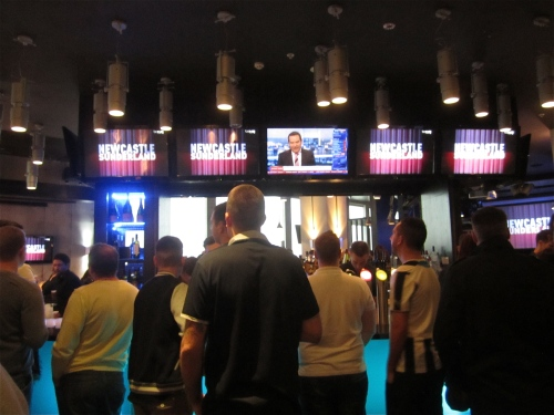The Newcastle United v Sunderland FC match about to start, Shark's Bar, Newcastle