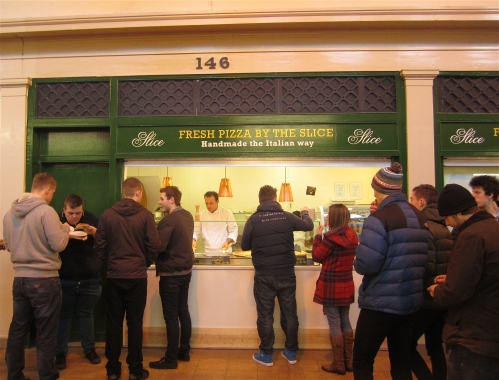 'Fresh Pizza by the Slice' stall in the Grainger Market, Newcastle