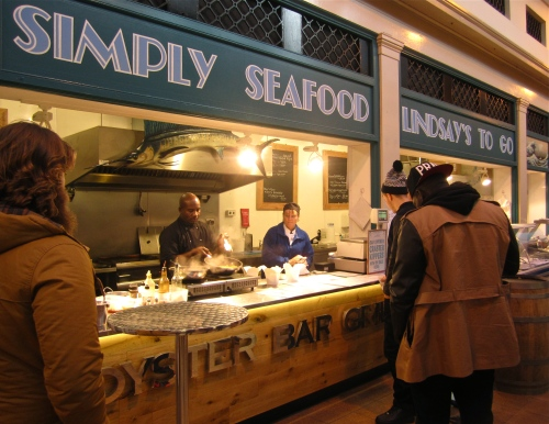 'Simply Seafood Lindsay's to Go', freshly cooked seafood stall, Grainger Market, Newcastle