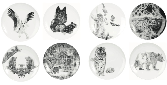 'In Homage to the Last Great Carnivores of Eurasia', Luxury Fine English China Plate Series by Jane Lee McCracken
