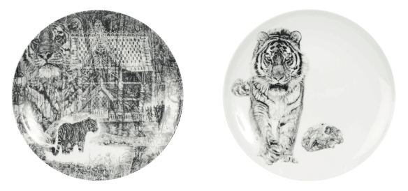 'Shh, it's a Tiger!' and 'Bang!', Siberian tiger luxury fine china plate diptych by Jane Lee McCracken