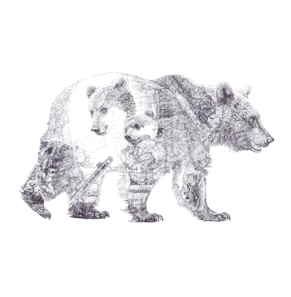 """Mummy Bear and Baby Bear"", Brown Bears, 'In Homage to the Last Great Carnivores of Eurasia', 2013 black Biro drawing by Jane Lee McCracken"