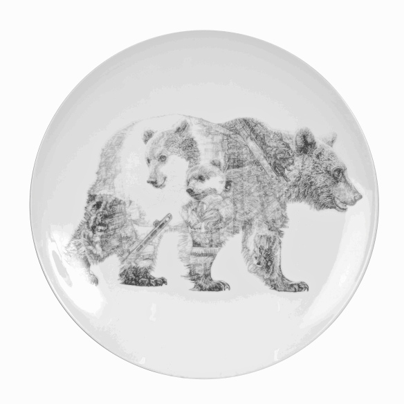 'Mummy Bear and Baby Bear', Brown Bears, luxury fine English china plate by Jane Lee McCracken
