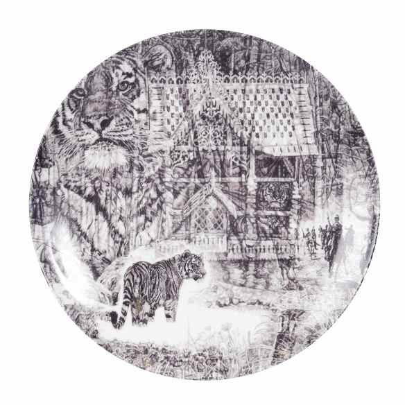 'Shh, it's a Tiger!', luxury fine English china plate by Jane Lee McCracken