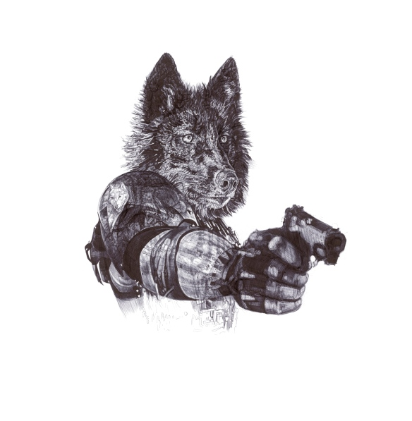 """'Revenge', Wolves """"In Homage to the Last Great Carnivores of Eurasia"""" black Biro drawing by Jane Lee McCracken"""