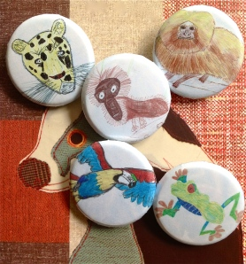 Endangered Species badges with artwork by Year 5, St Peter's Roman Catholic School, Scarborough