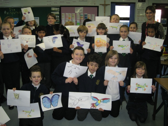 Year 5, St Peter's Roman Catholic School, Scarborough with their artwork produced during 'Drawing for Endangered Species' workshop