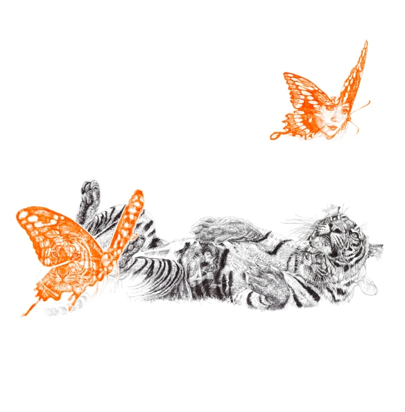 'Butterfly Lover', Luxury large format Archival Pigment Print of original Biro drawing by Jane Lee McCracken