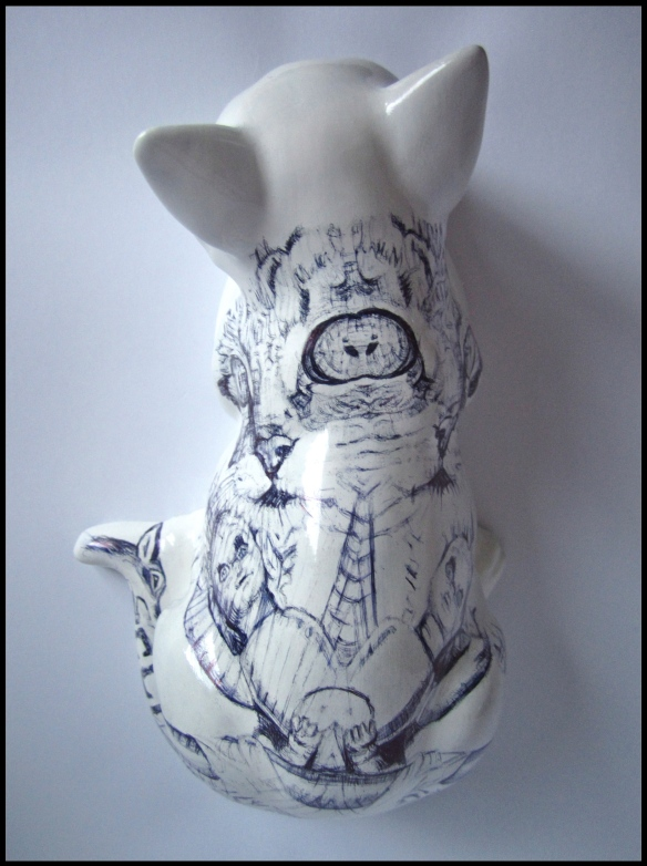'Chernobyl Cat', biro on china figurine, 2013 by Jane Lee McCracken