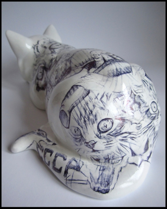 'Chernobyl Cat',Biro drawing on china, 2013 by Jane Lee McCracken