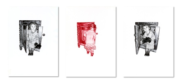 'The Sideboard I, II & III', black and red Biro drawings by Jane Lee McCracken