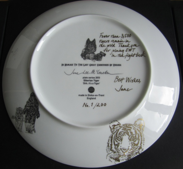 'Shh, it's a Tiger', gold inscription on china plate back, 2014