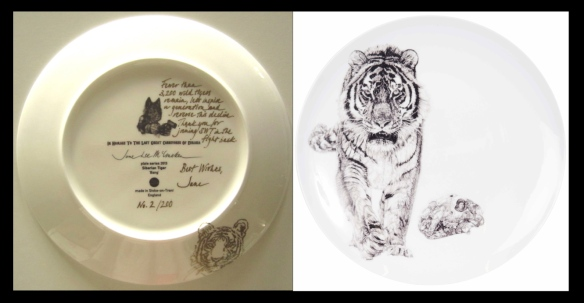 "'Bang!"" Siberian Tiger plate back with gold inscription and plate front"