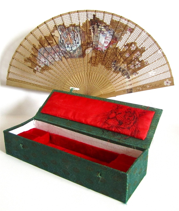 'Cherry Blossom Girl' colour Biro drawing on found Oriental Fan and 'Amoy' black Biro drawing on red silk box interior, Jane Lee McCracken 2014
