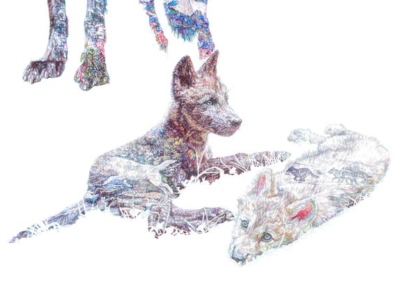 'American Dream', colour Biro Drawing, detail - Zephyr and Alawa as pups and Atka leaping over a stream