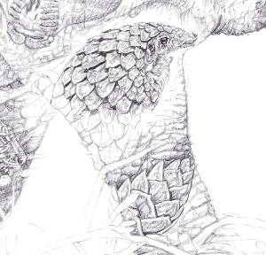 'Pangolin' detail from 'Rhino 2014' by Jane Lee McCracken