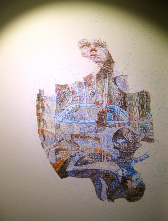 Photo image of new colour Biro drawing in progress