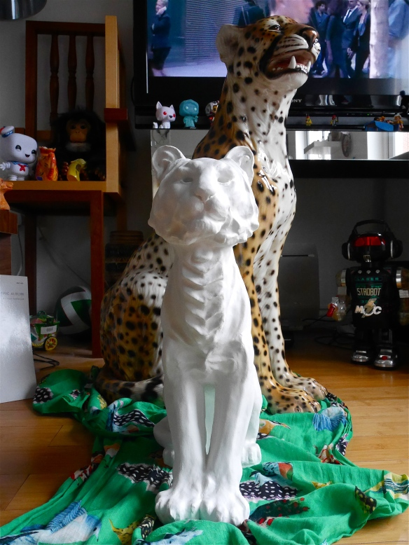 Tiger Sculpture painted white, prepared for drawing on