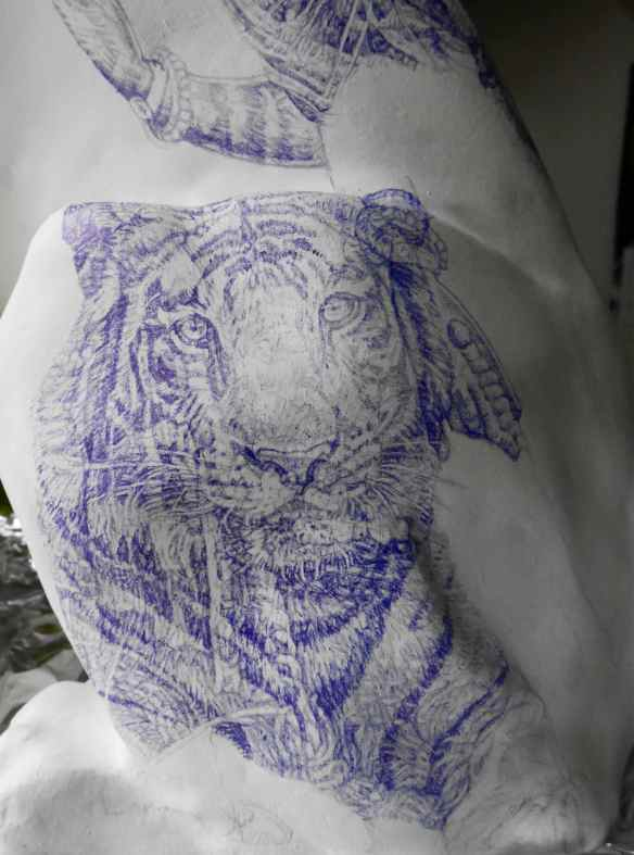 'King of India' blue Biro drawing part of Tiger Sculpture Tattoo