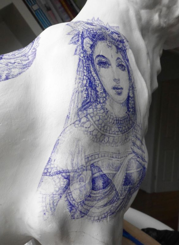 Side view of Lakshmi drawing  depicting how her shoulder and arm follow the curves of the tiger sculpture's right shoulder