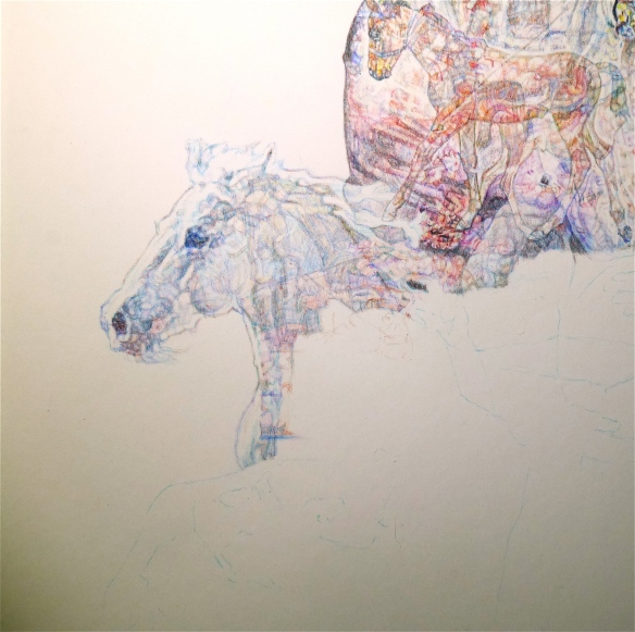 Detail of white horse, new colour Biro drawing